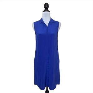 J. Crew Blue Button Down Silk Dress
